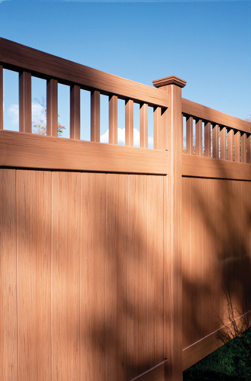 Bufftech Chesterfield Vinyl Privacy Fence with Sierra Blend CertaGrain Finish