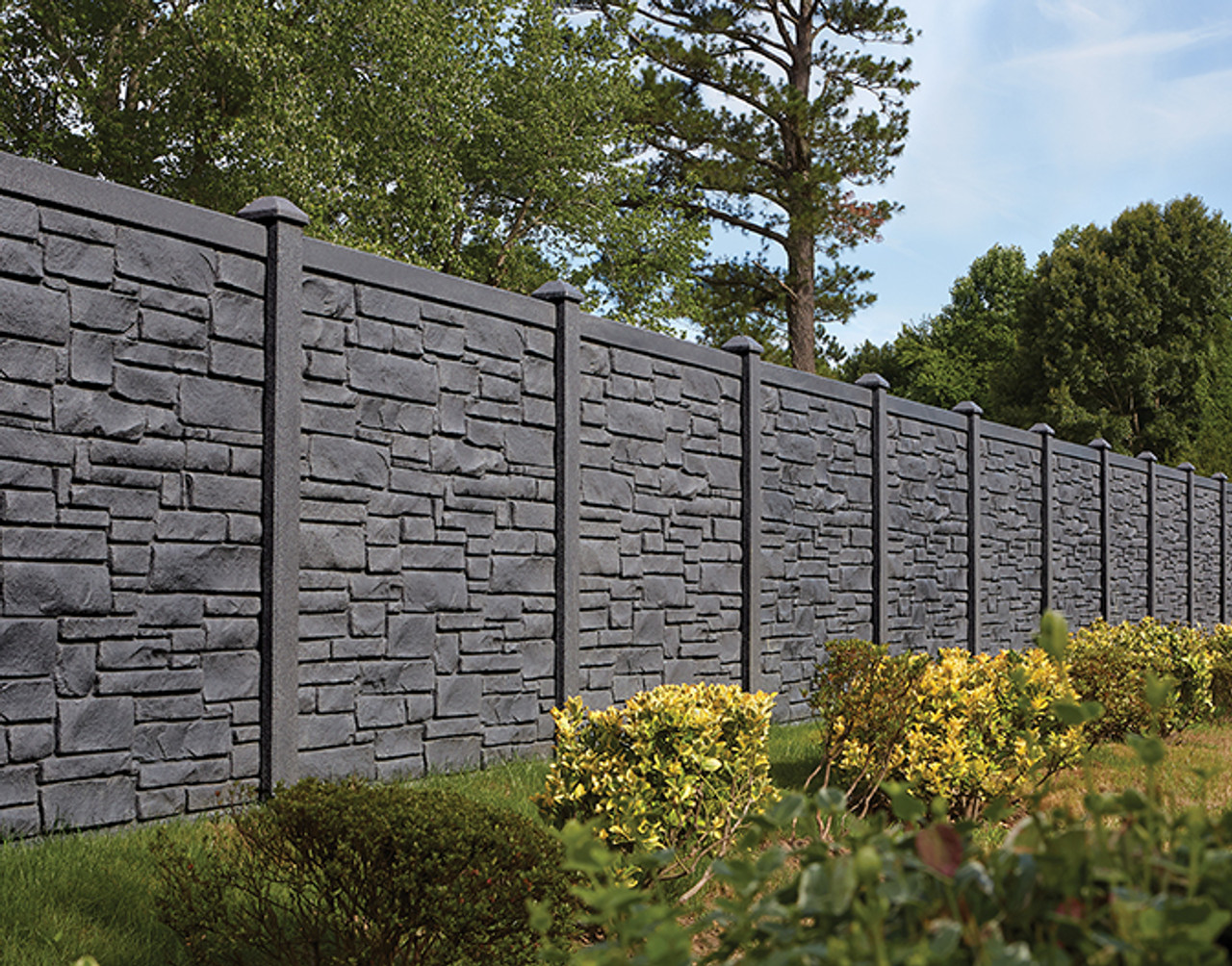 Bufftech Allegheny Molded Vinyl Fence Panel, Looks Like Real Stonework    Multiple Sizes & Colors