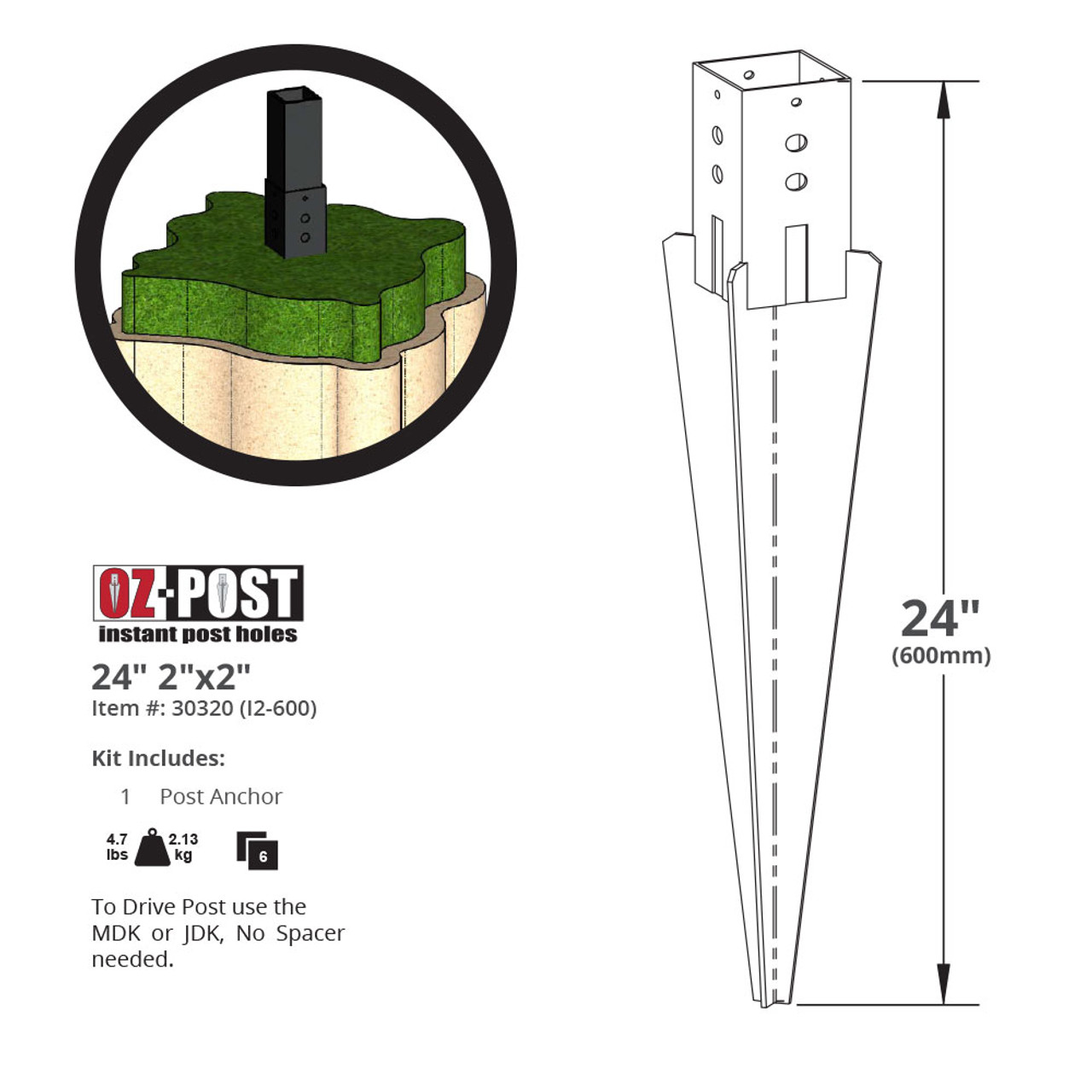 OZCO I2-600 Ornamental Post Anchor Dimension Drawing