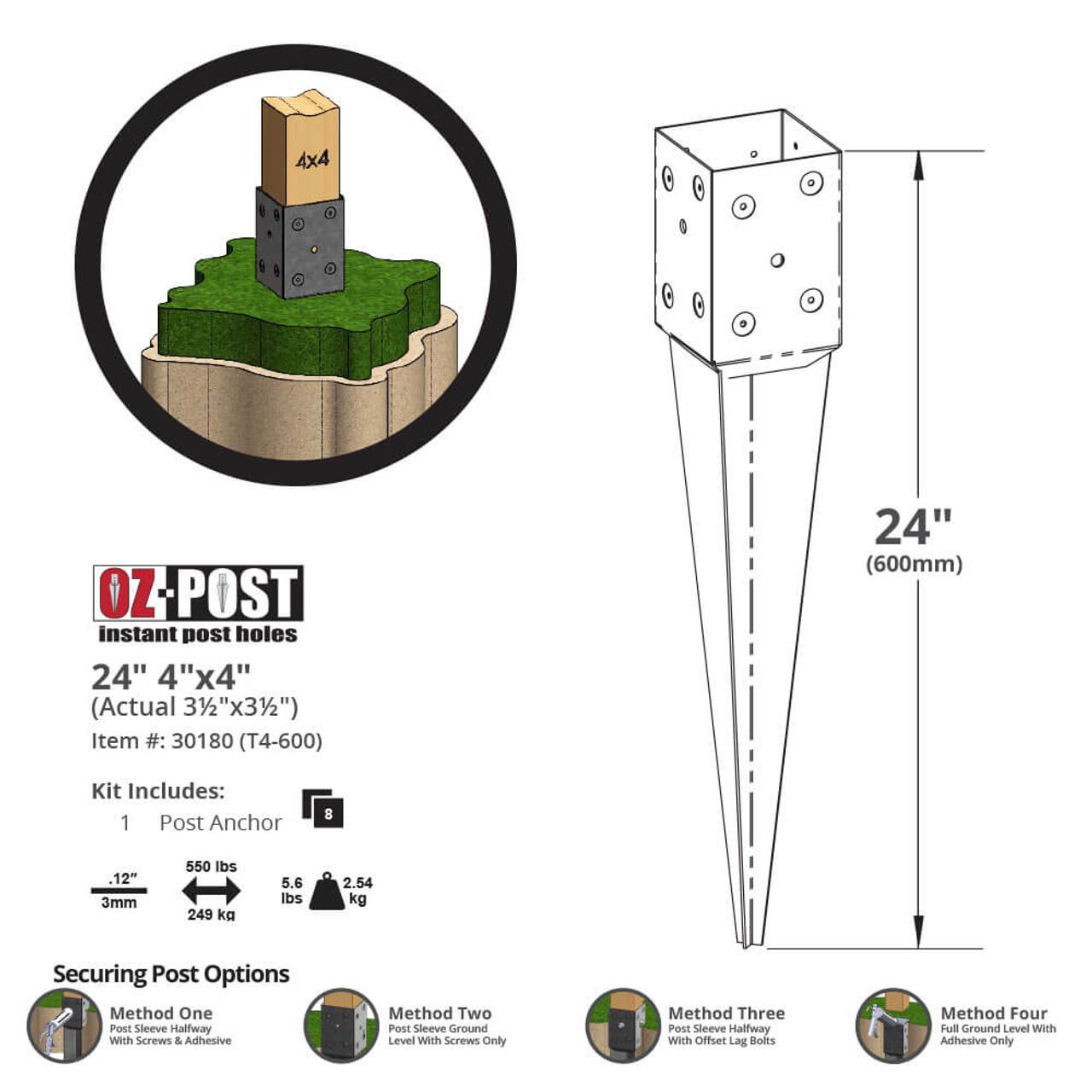 OZ-Post T4-600 Dimension Drawing