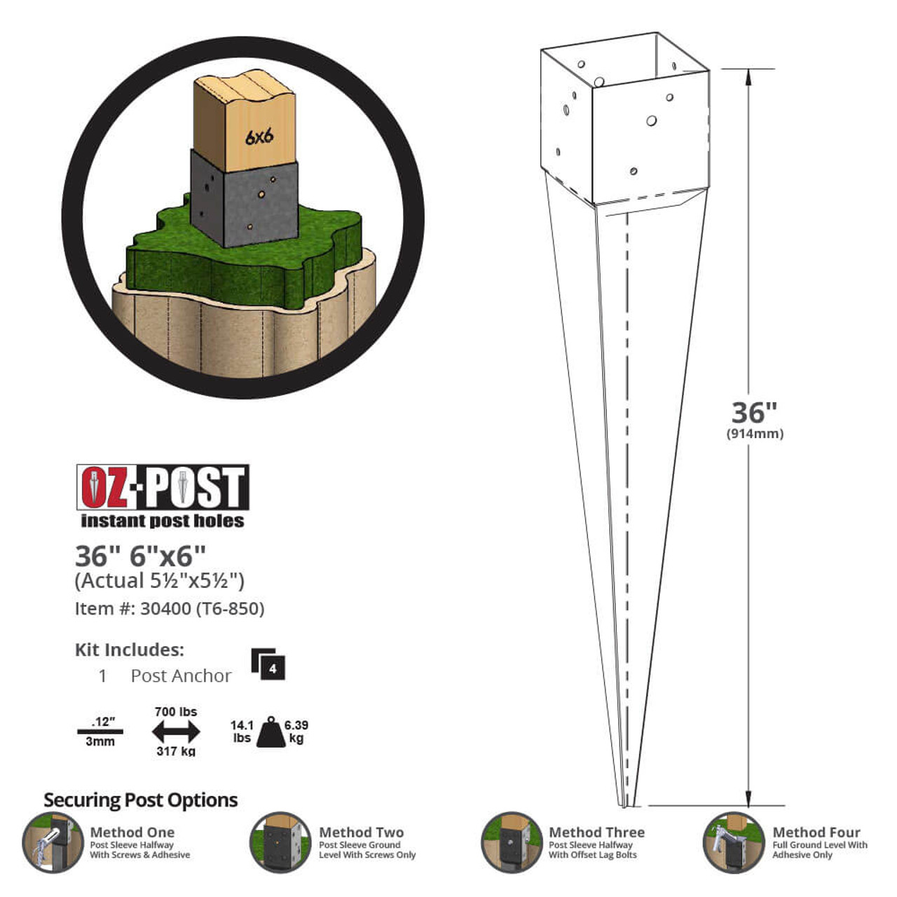 OZ-Post T6-850 Dimension Drawing