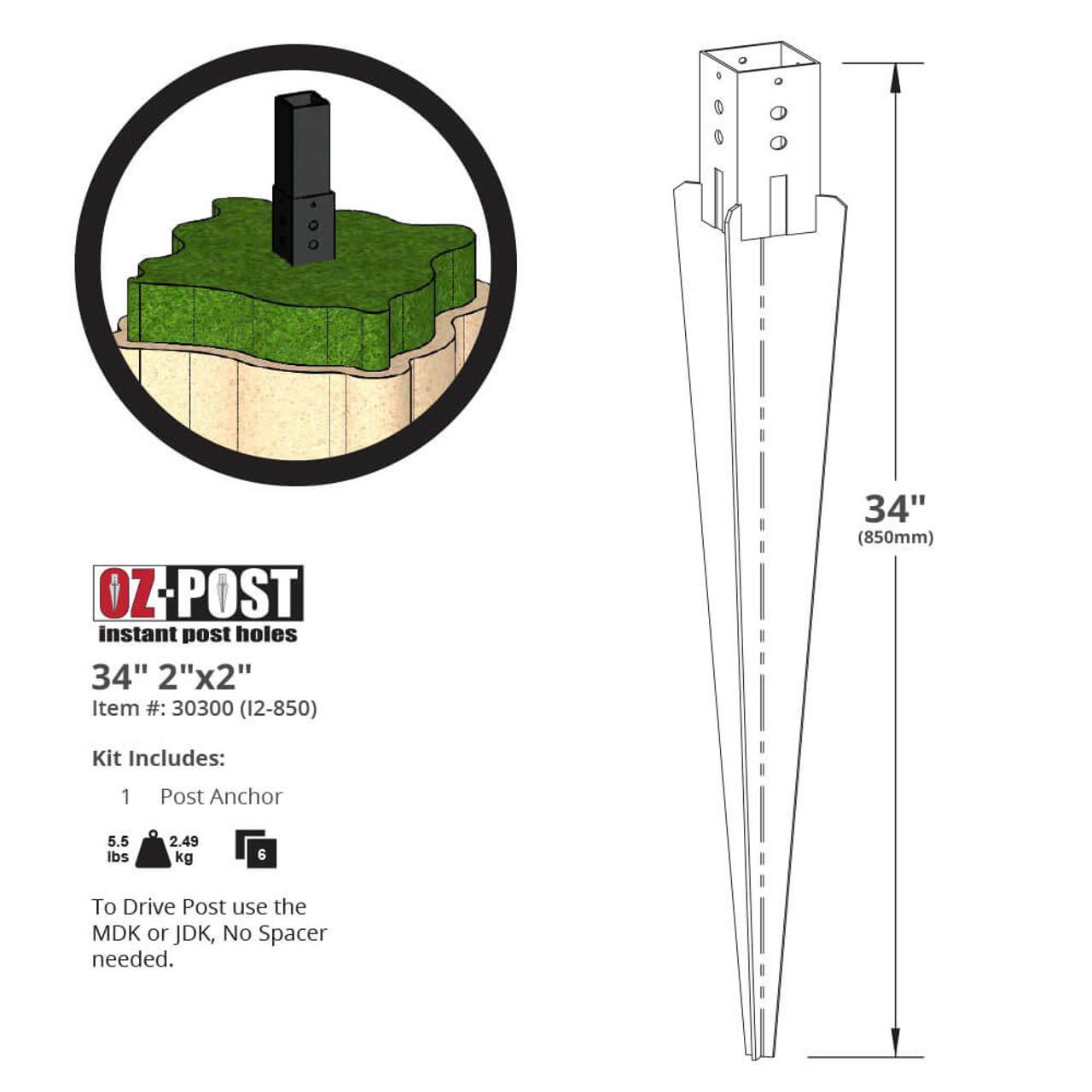 I2-850 OZ-Post Ornamental Post Anchor Dimension Drawing
