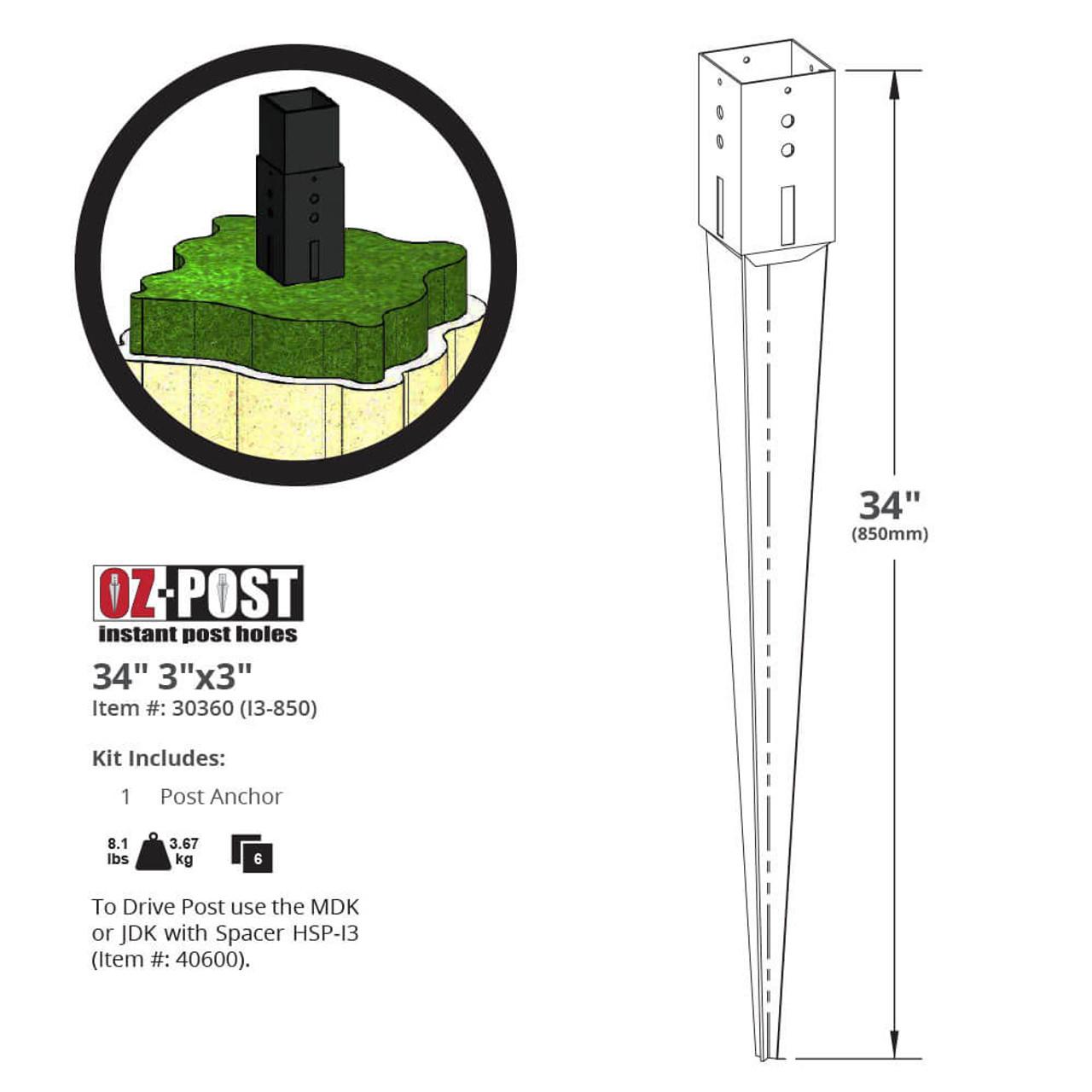 I3-850 OZ-Post Dimension Drawing