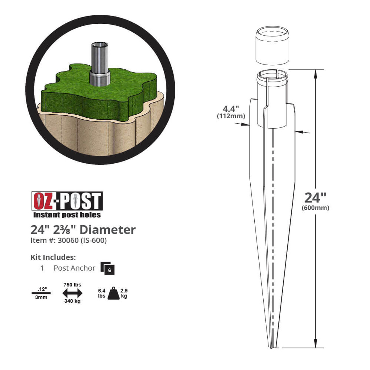 "OZ-Post IS-600 2-3/8"" Steel Post Anchor Dimension Drawing"