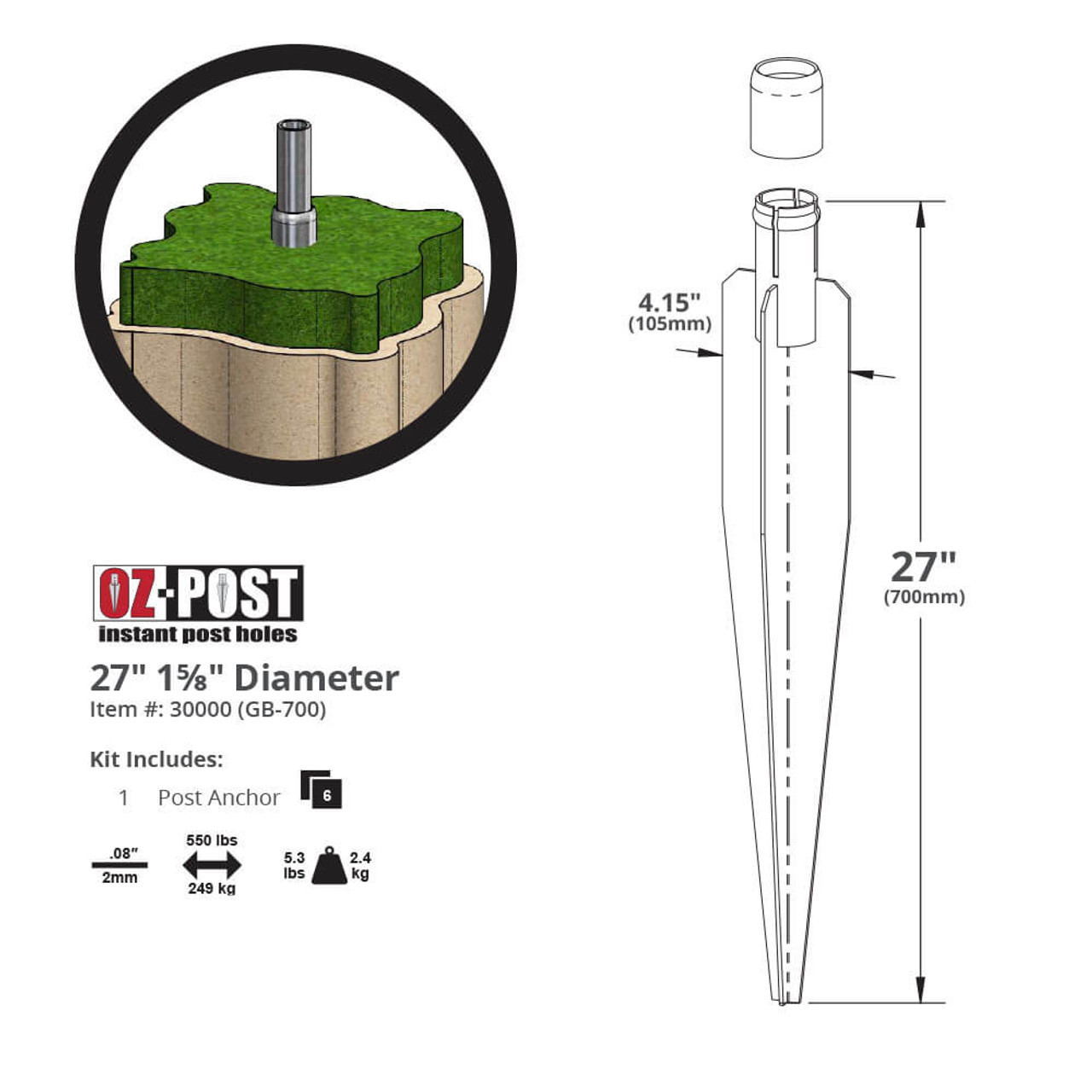 """OZ-Post GB-700 1-5/8"""" Round Steel Post Anchor Dimension Drawing"""