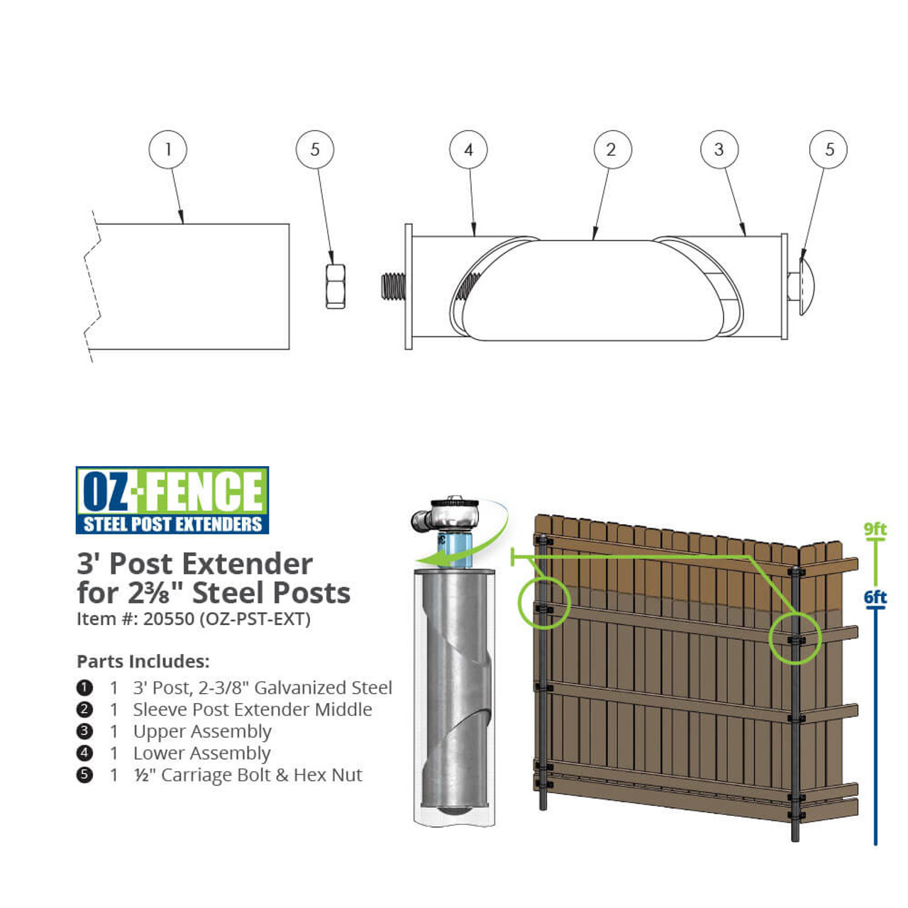 OZCO Building Products OZ-Fence Post Extender Dimension Drawing