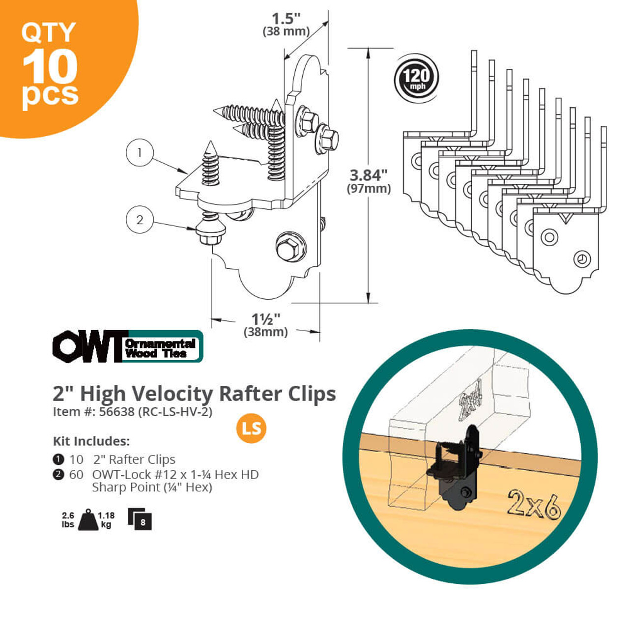 "OZCO OWT 2"" High Velocity Rafter Clips w/ Laredo Sunset Style Dimension Drawing"