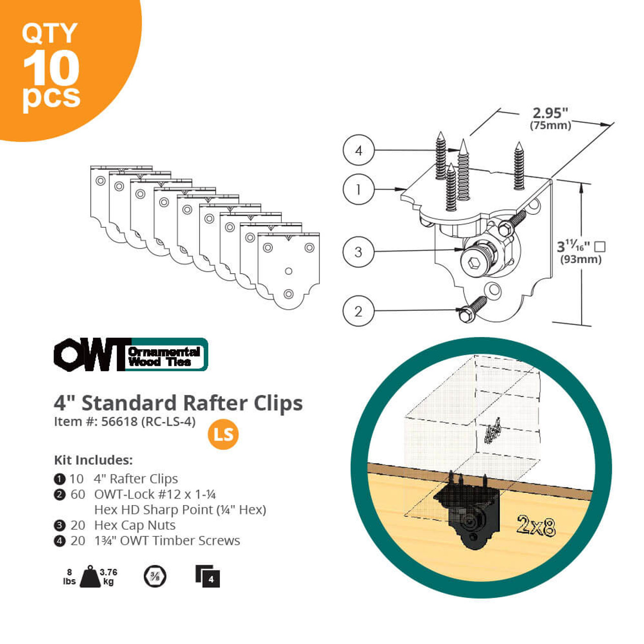 "OZCO OWT 4"" Laredo Sunset Rafter Clips Dimension Drawing"
