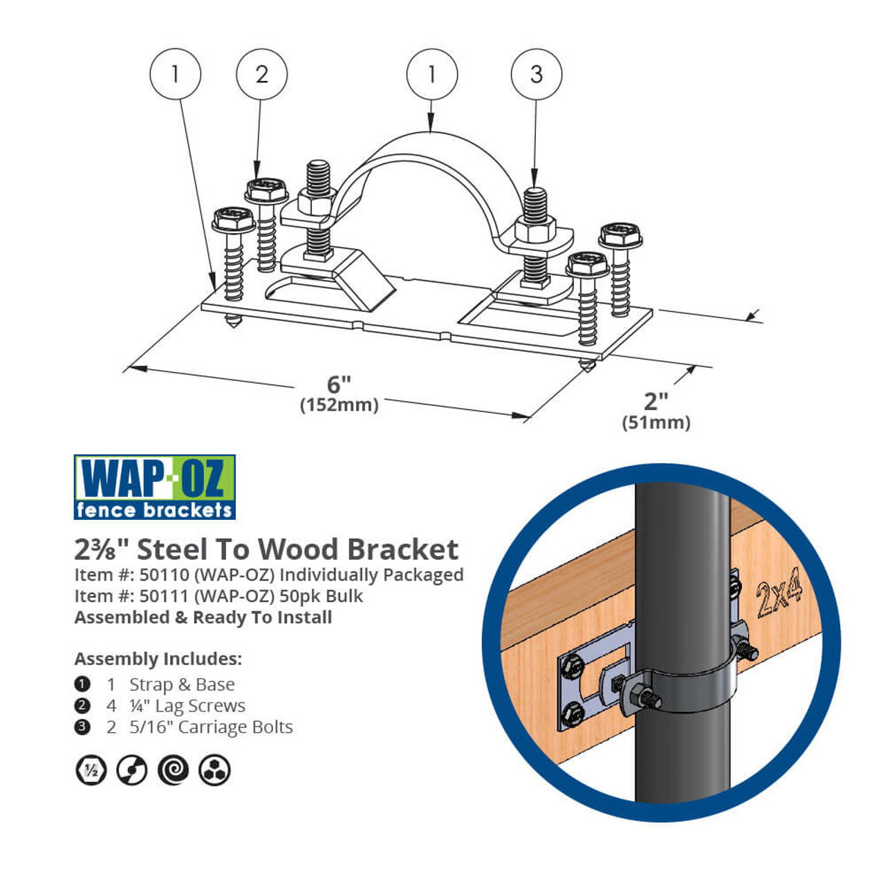 "WAP-OZ 2-3/8"" Steel to Wood Fence Bracket Dimension Drawing"