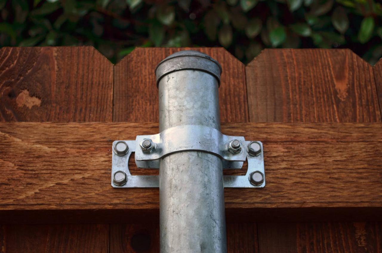 Wood Fence Installed w/ Metal Post Using WAP-OZ Wood to Steel Fence Brackets