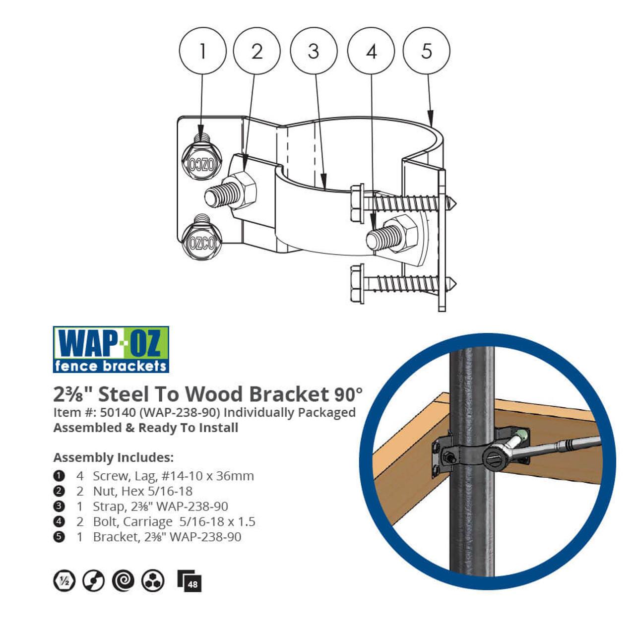 I90-WAP-OZ 90-Degree Corner Bracket Dimension Drawings