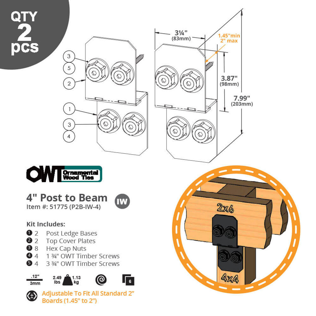 """4"""" Post to Beam Connectors from OZCO Ornamental Wood Ties (OWT) Dimension Drawing"""