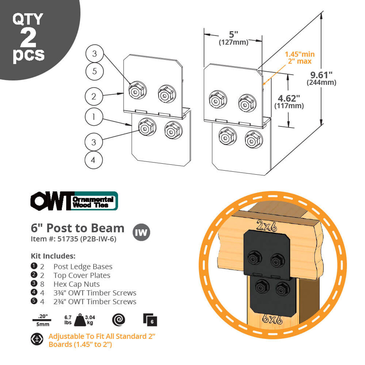 """6"""" Post to Beam Connectors from OZCO Ornamental Wood Ties (OWT) Dimension Drawing"""