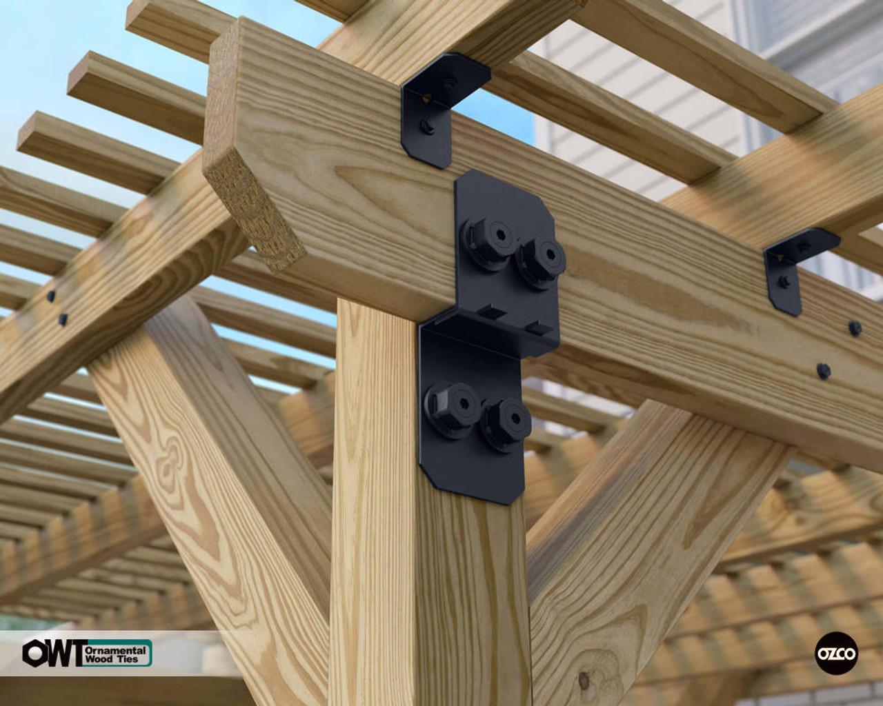 Wood Pergola Built with OZCO OWT Post to Beam Connectors