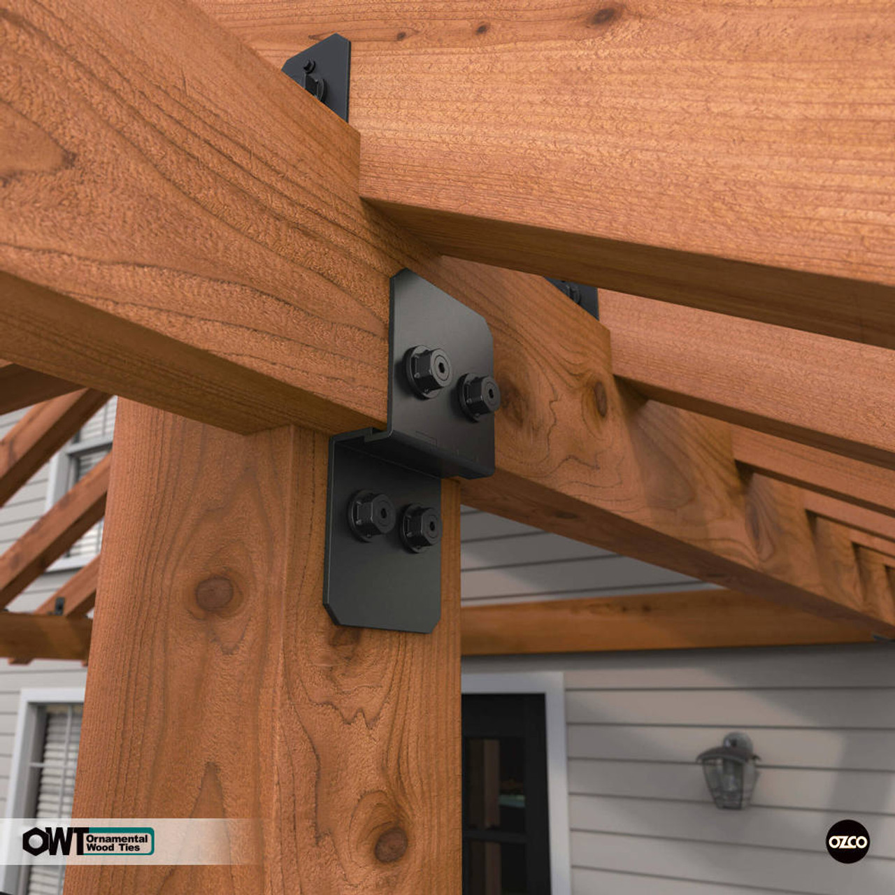 Wood Posts & Beams Connected Using OWT Post to Beam Connectors from OZCO Building Products
