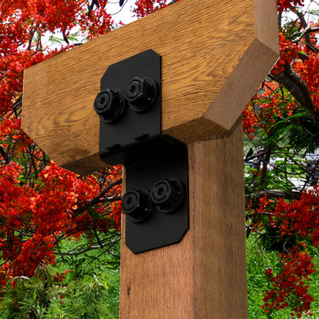 A Wood Post & Beam Using OZCO Ornamental Wood Ties Hardware Post to Beam Connector
