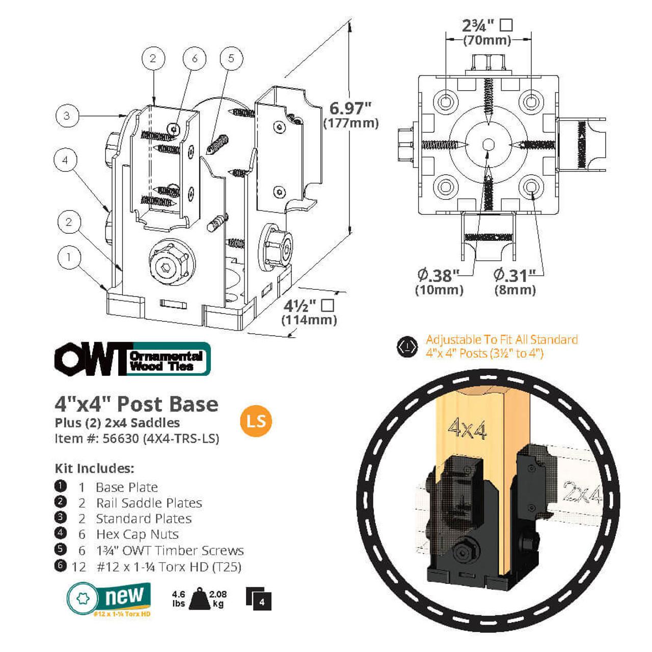 OZCO 4X4TRS-LS Post Base Twin Rail Saddle Dimension Drawing