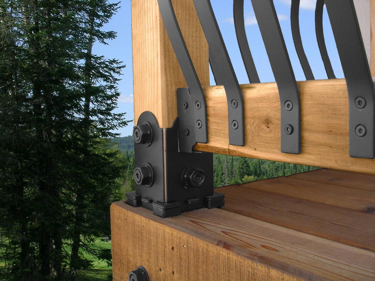 Deck Post & Rail Installed with OZCO Post Base w/ 2 Railing Saddles