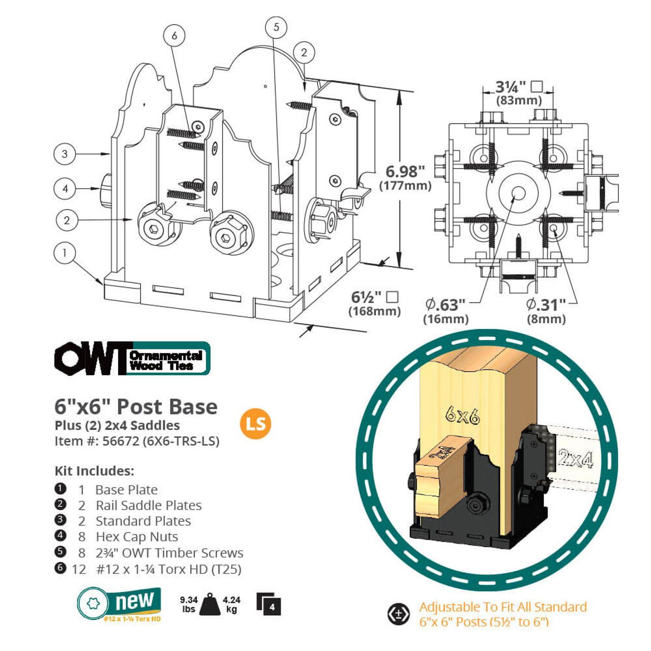 OZCO 6X6TRS-LS Post Base Twin Rail Saddle Dimension Drawing