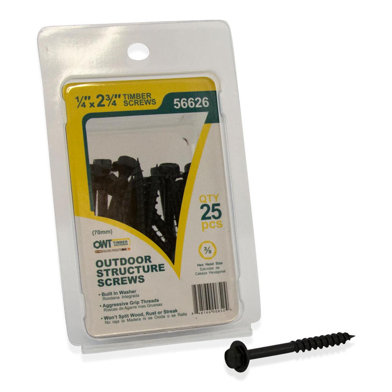 "OZCO OWT Hardware 2-3/4"" Timber Screws - 25 Pack"