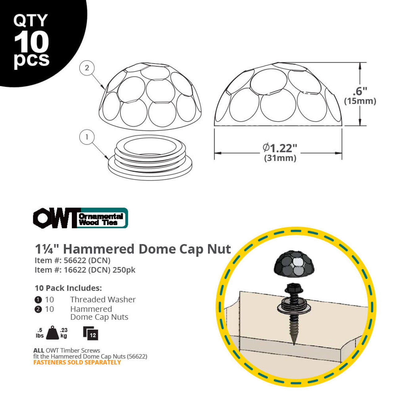 OZCO OWT Hammered Dome Cap Nut Dimension Drawing