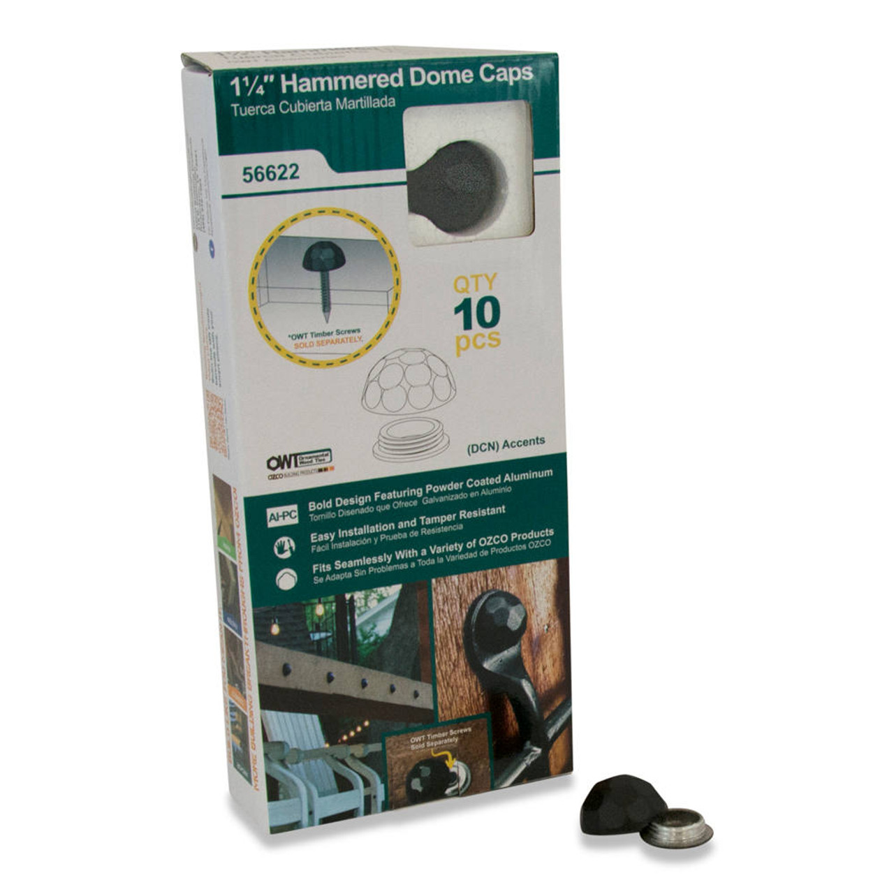 OZCO OWT HDCN Hammered Dome Cap Nut - 10 Pack
