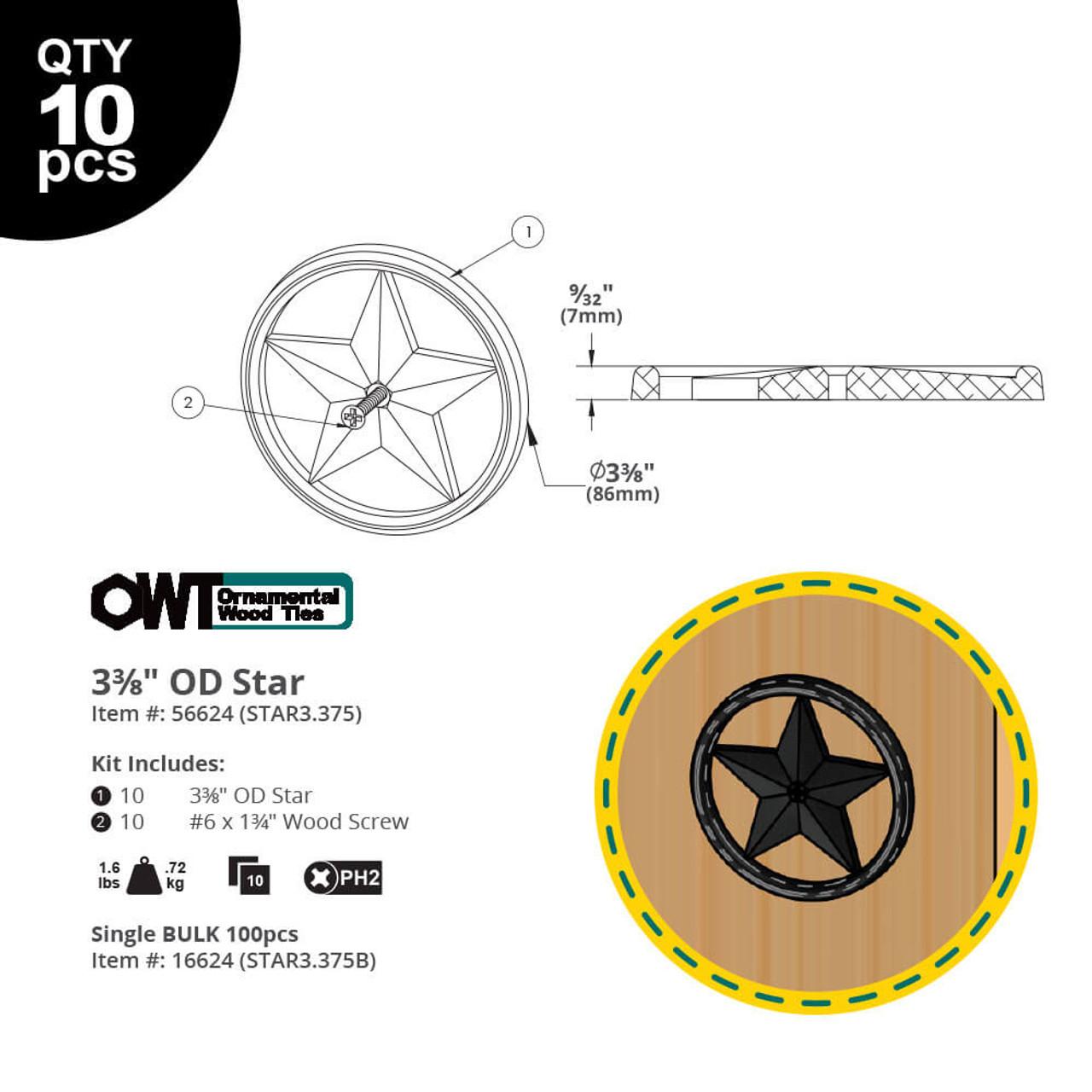 "3-3/8"" OZCO OWT Hardware Decorative Metal Star - Dimension Drawing"