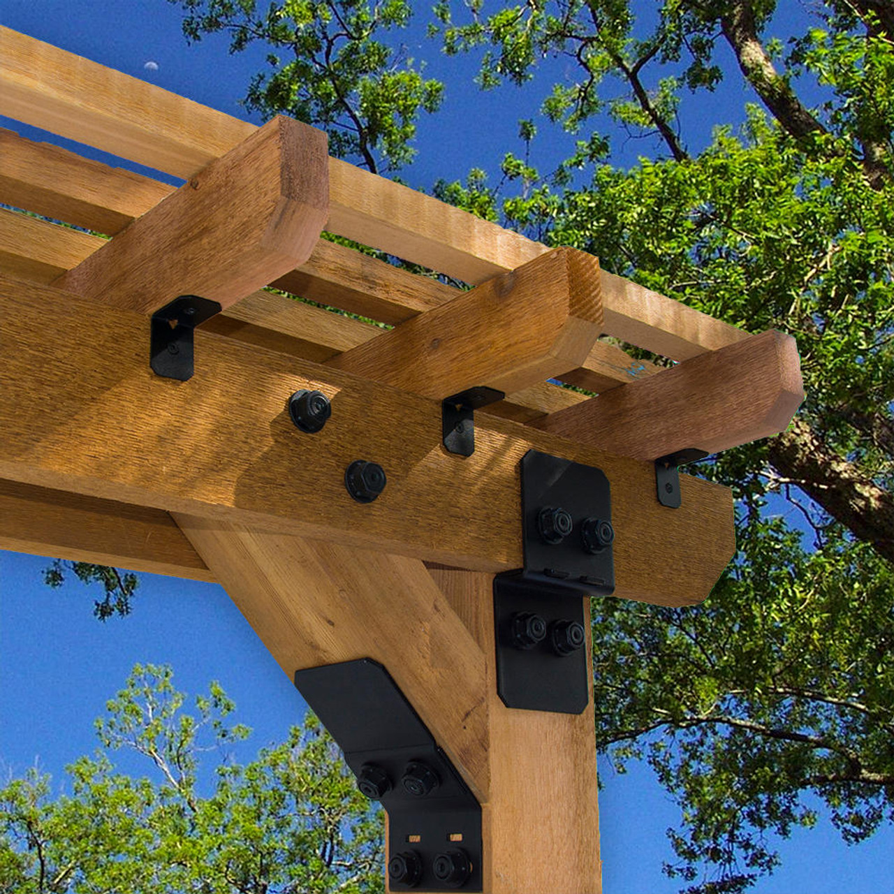 OZCO OWT Truss Accent Plate Installed on Pergola