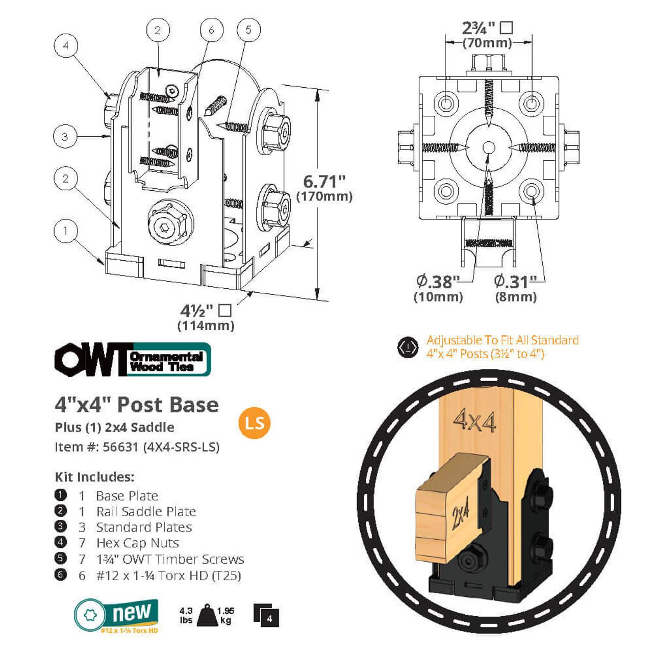 4 x 4 Laredo Sunset Single Rail Saddle from OZCO OWT - Dimension Drawing