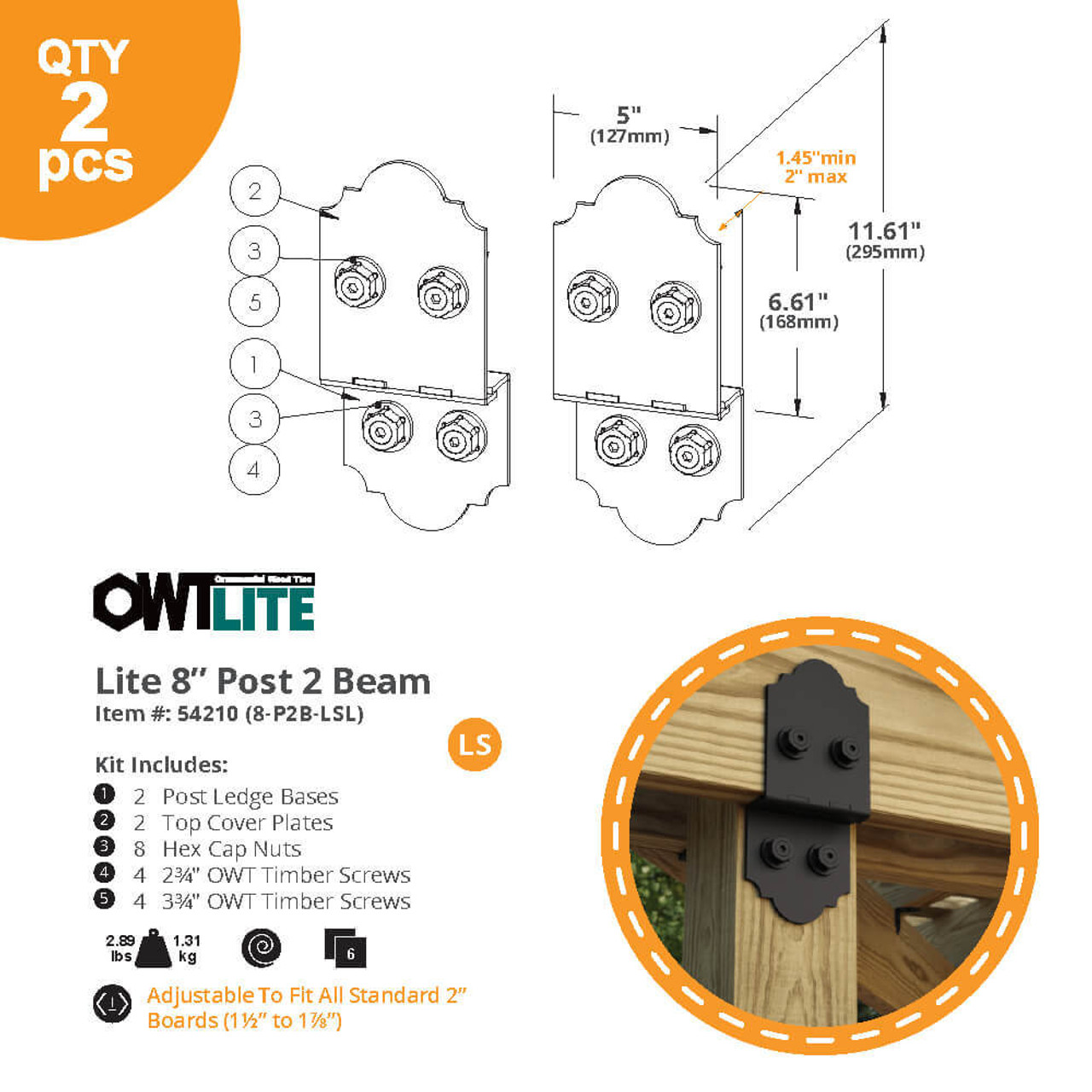 """OZCO OWT-Lite 8-P2B-LSL 8"""" Post to Beam Connector - Dimension Drawing"""
