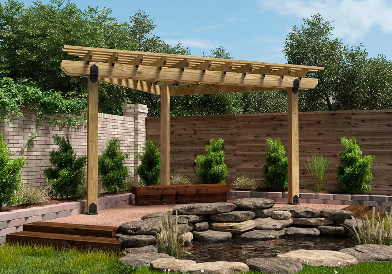 Backyard Pergola Installed with OWT-Lite Post to Beam Connector Kit