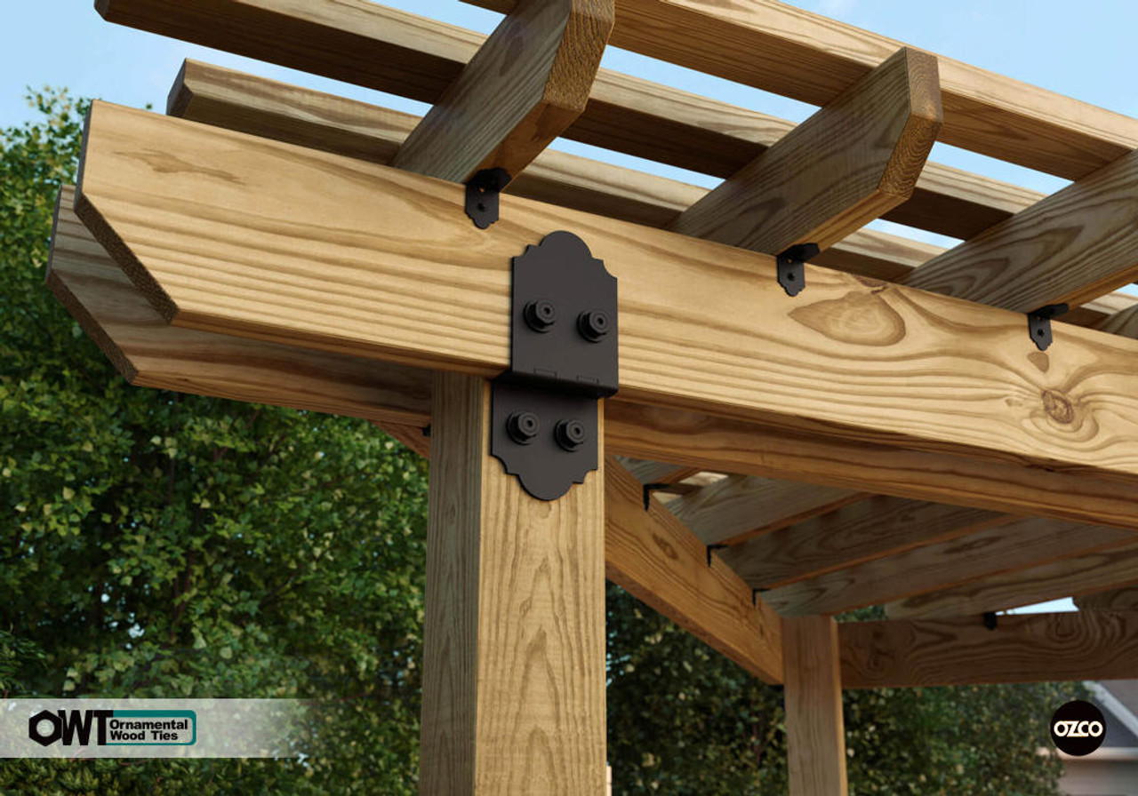Closeup of Pergola Installed with OWT-Lite Post to Beam Connector Kit