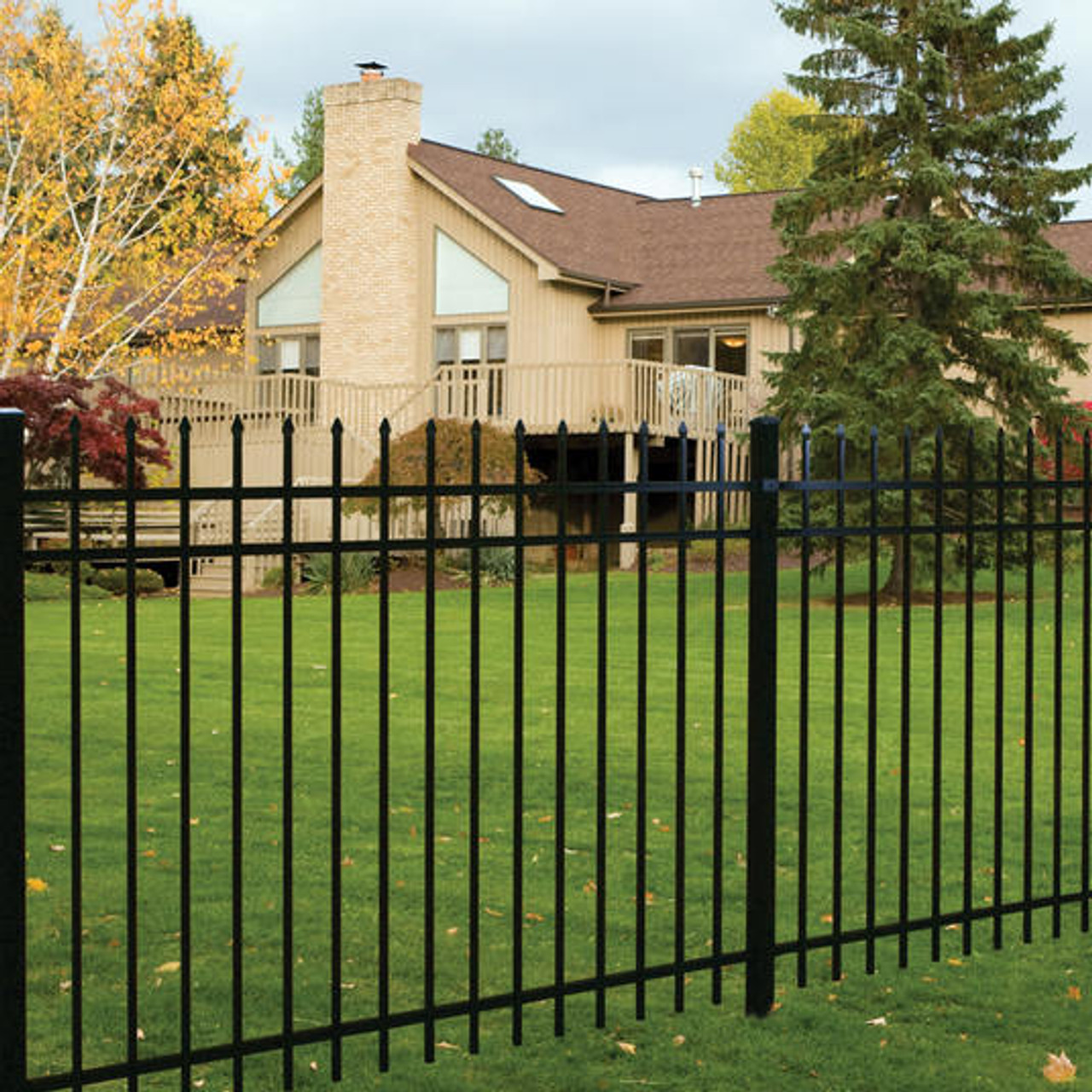 Regis 3131 3-Rail Spear Top Aluminum Fence Panels - Choose Your Height &  Color