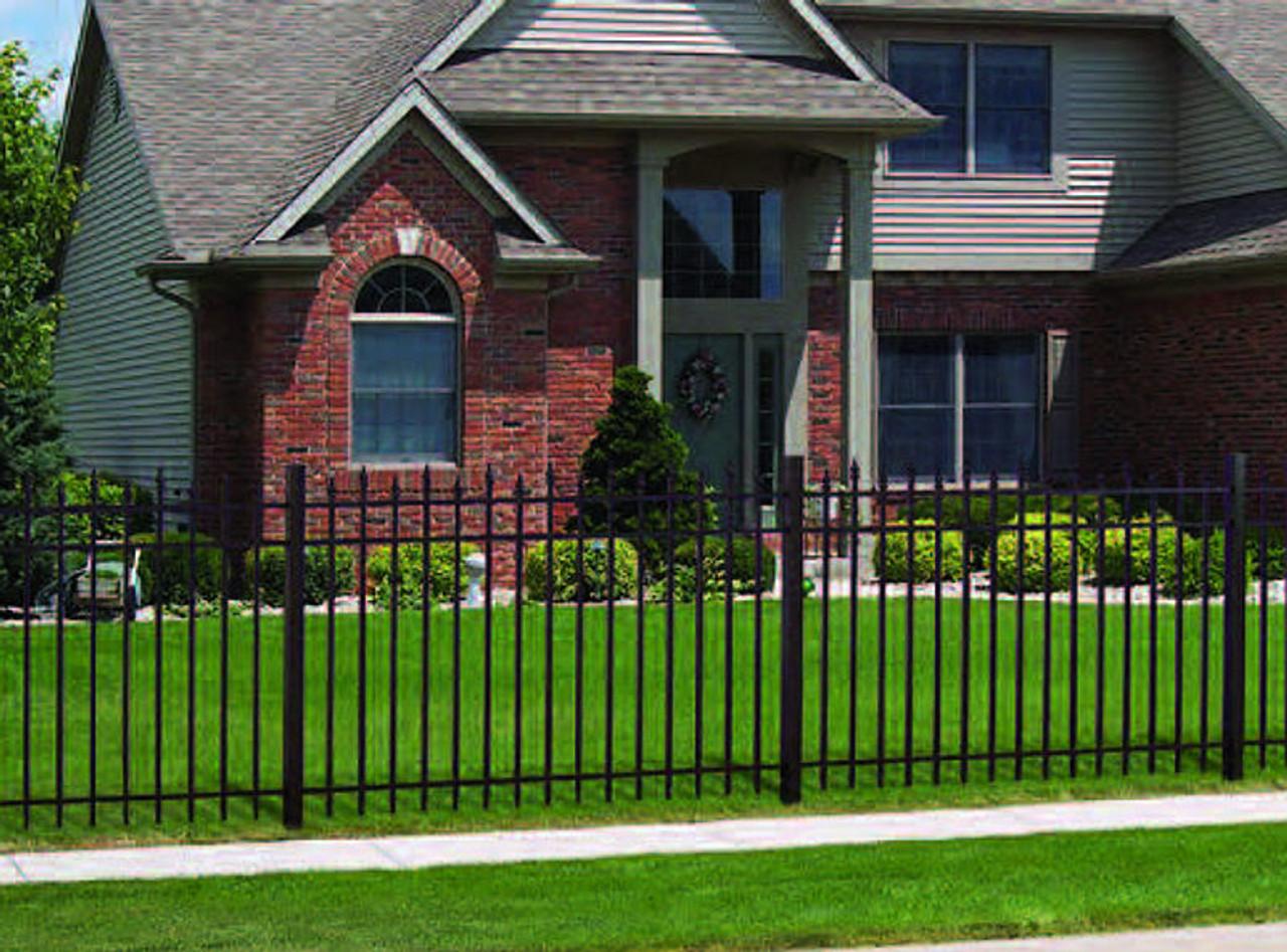 Picture of: Regis 3132 Ornamental Aluminum Fence W Alternating Pickets