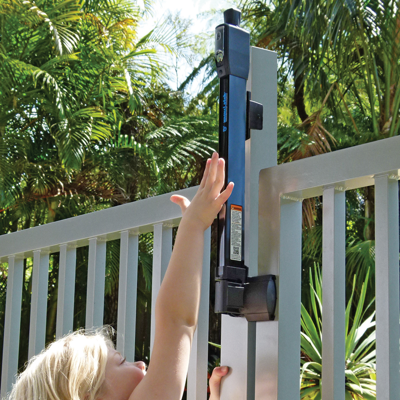 Child-Resistant MagnaLatch Series 3 Top Pull Gate Latch on Swimming Pool Gate