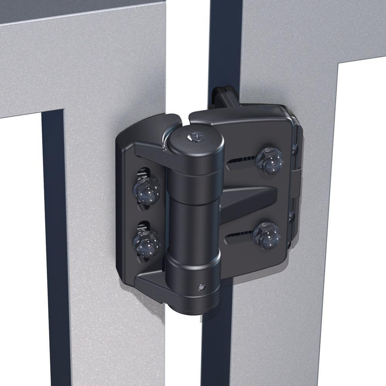 D&D TruClose Mini Multi-Adjust Regular Gate Hinge on Ornamental Gate