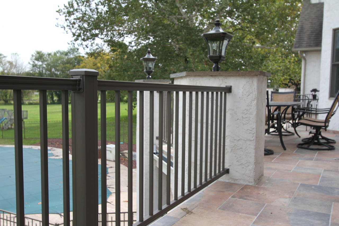 Key-Link American Series Aluminum Level Railing Sections with Square Balusters