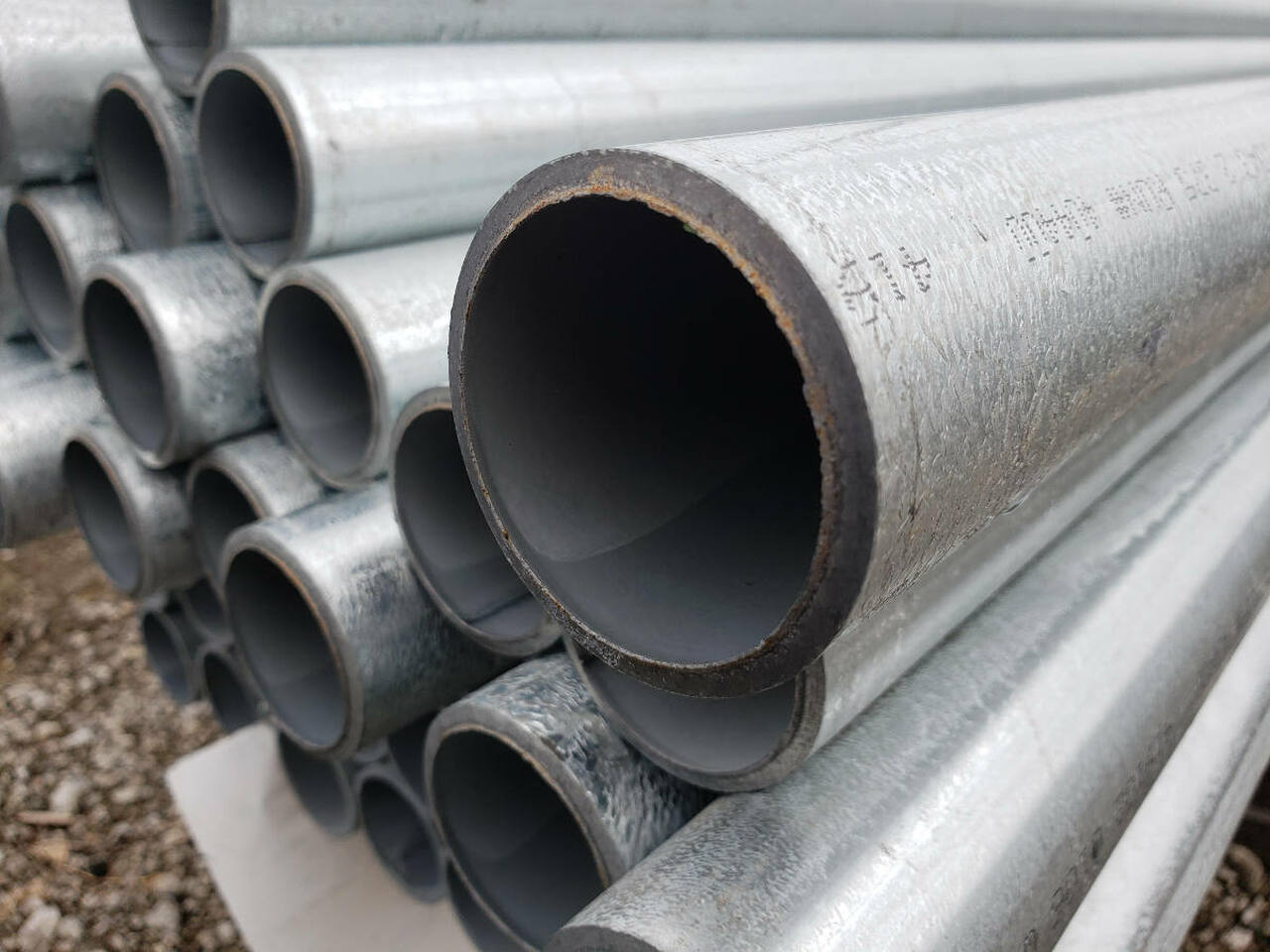 Closeup of Commercial Grade SF40 Pipe for Chain Link Posts & Framework