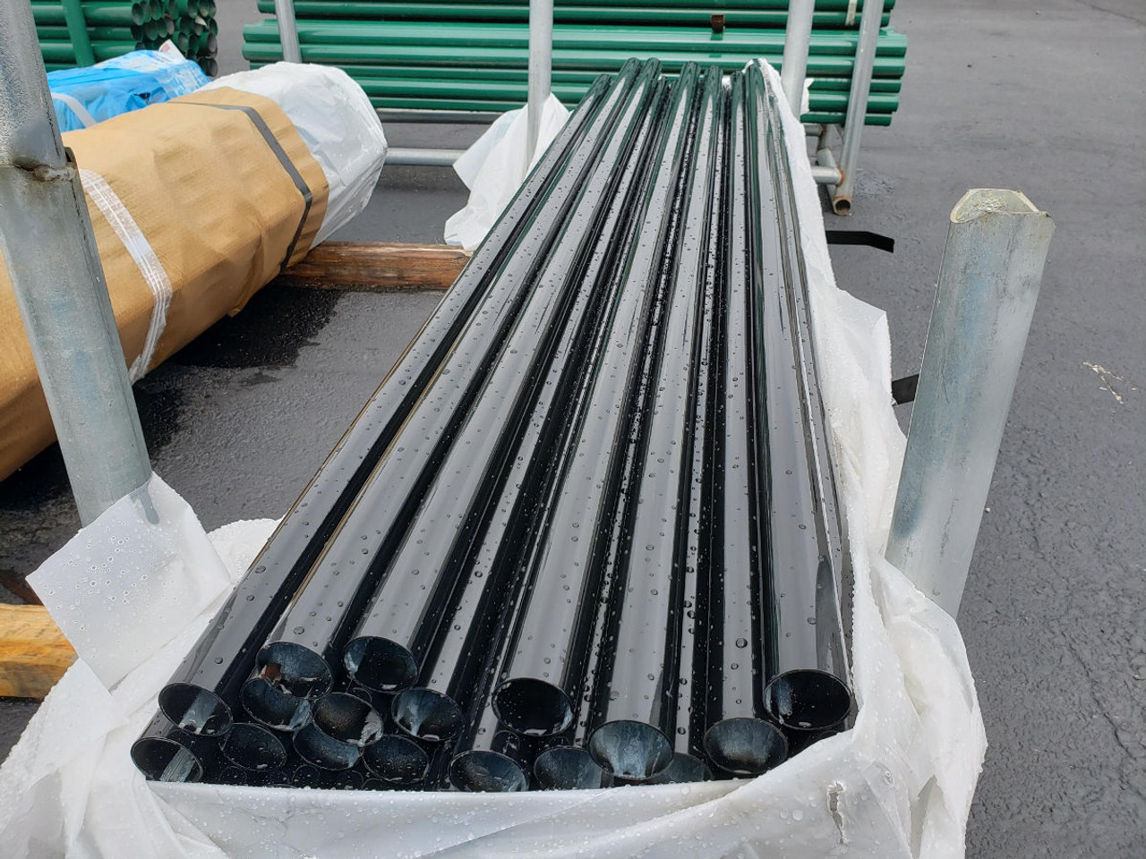 Black Poly Powder Coated SF40 Chain Link Fence Pipe - Representative Image. Actual Product May Vary in Size or Color.
