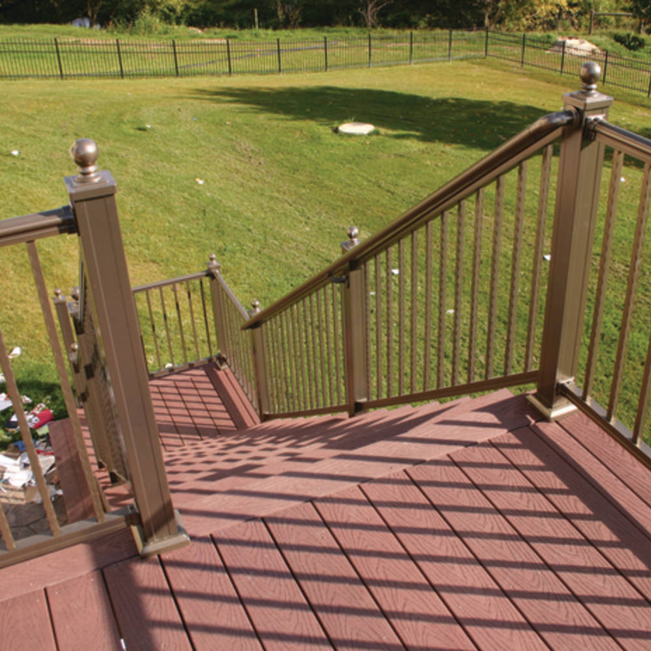Key-Link Arabian Series Stair Railing with Hammered Balusters in Gloss Bronze
