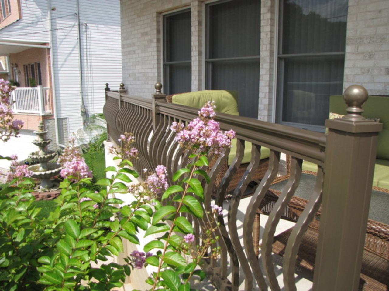 Key-Link Lancaster Series Aluminum Railing in Gloss Bronze with Hammered Bowed Balusters