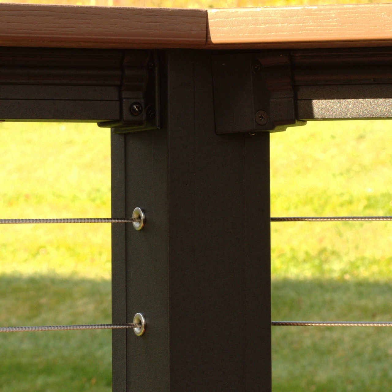 Level Deckboard Mount Brackets on Key-Link Lancaster Railing with Cable Infill