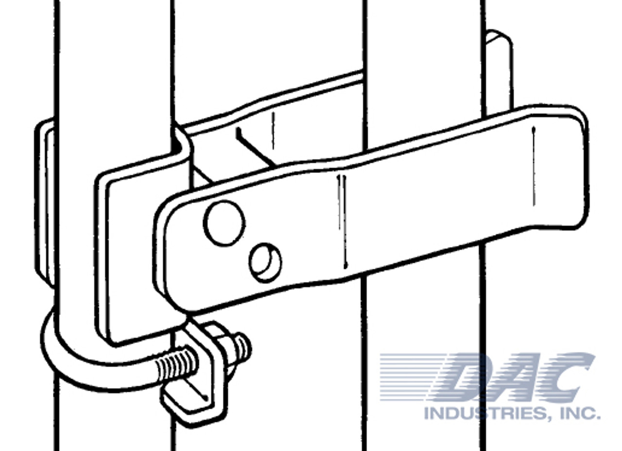 Drawing of DAC Industries Round Post Walk Gate Strong Arm Latch