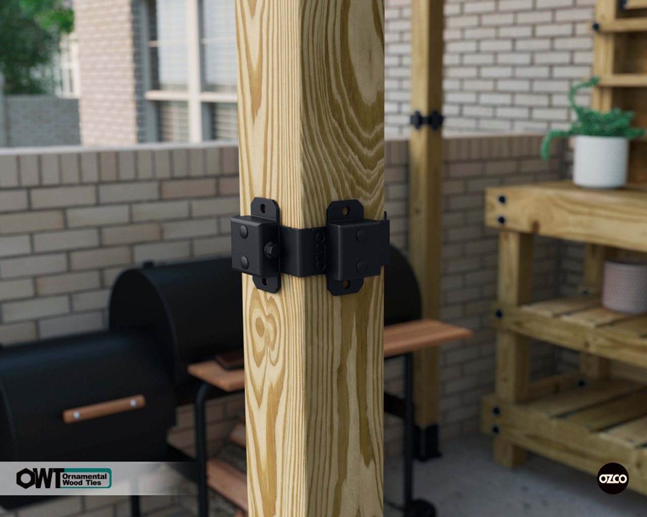 OZCO Ornamental Wood Ties Post Band Installed on 4x4 Post