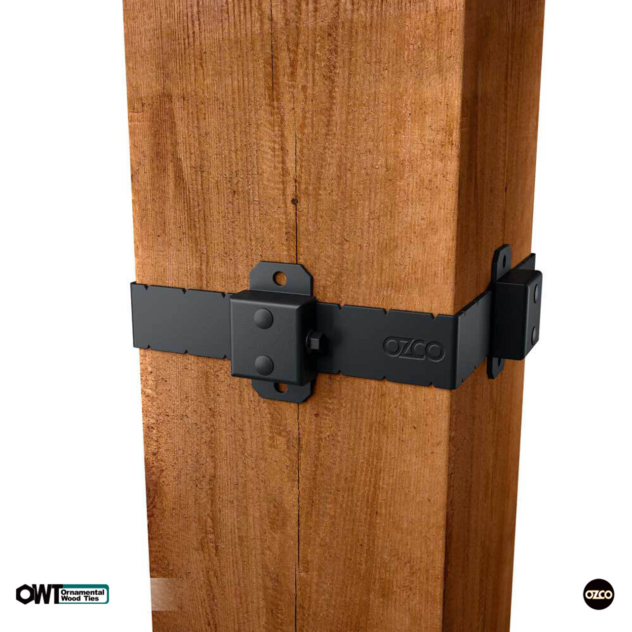 """8"""" x 8"""" OZCO OWT Post Band Installed on Smooth Cut Wood Post"""