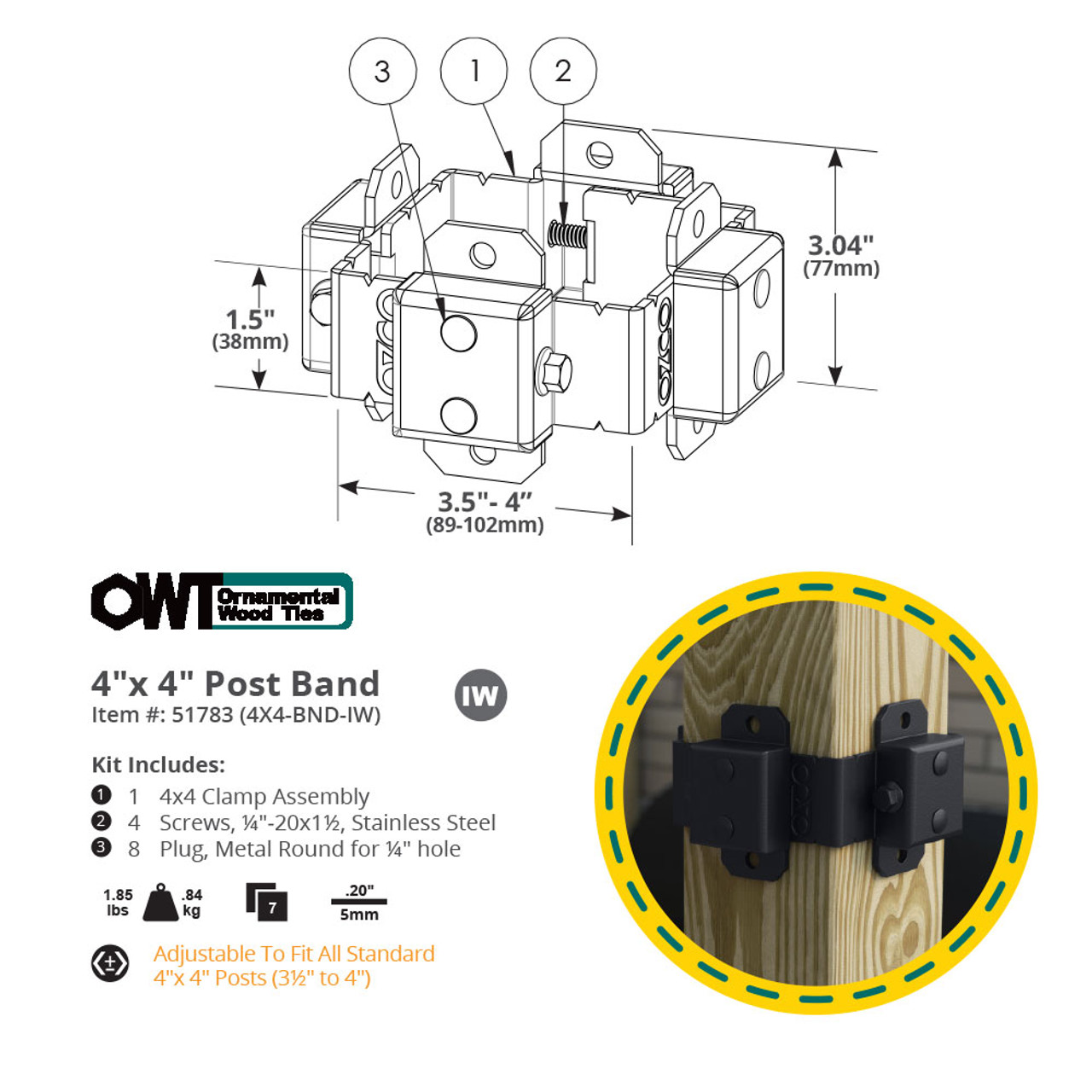 4 x 4 OZCO OWT Ironwood Post Band Spec Drawing