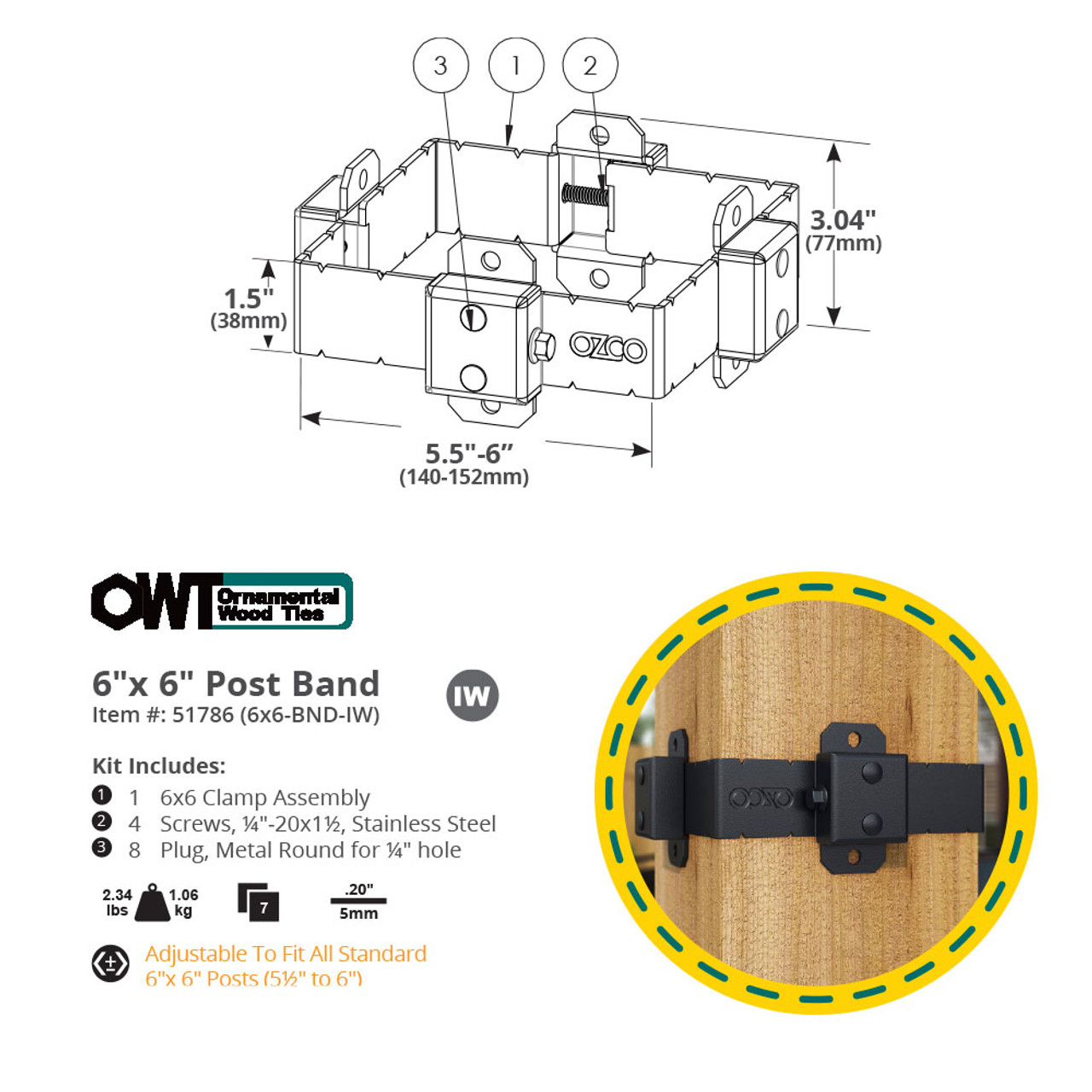 6 x 6 OZCO OWT Ironwood Post Band Spec Drawing