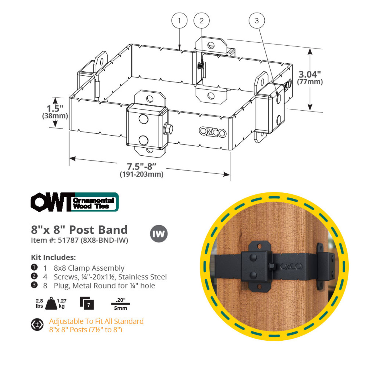 8 x 8 OZCO OWT Ironwood Post Band Spec Drawing