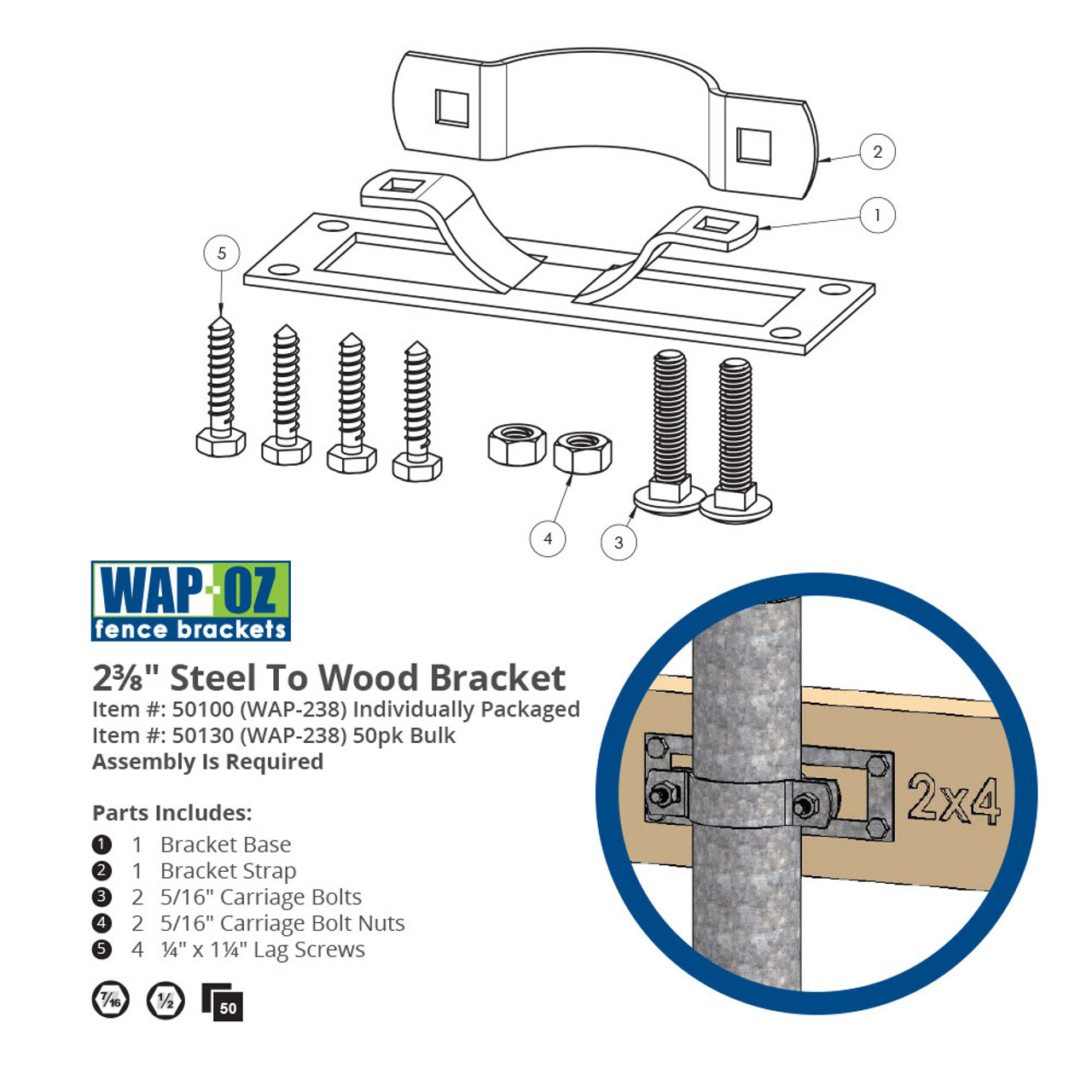 OZCO Building Products WAP-238 Steel to Wood Fence Bracket Line Drawing