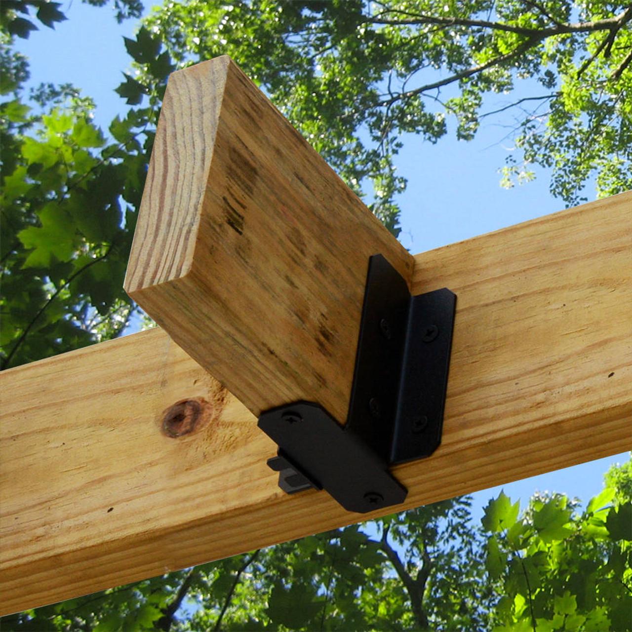 OZCO Ornamental Wood Ties (OWT) Joist Hanger Tab Securing a Wood Joist on a Pergola